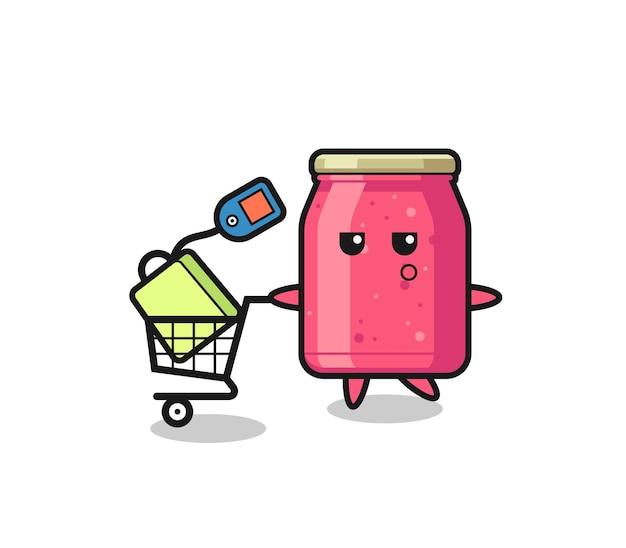 Erdbeermarmelade-illustrationskarikatur mit einem einkaufswagen, süßem design