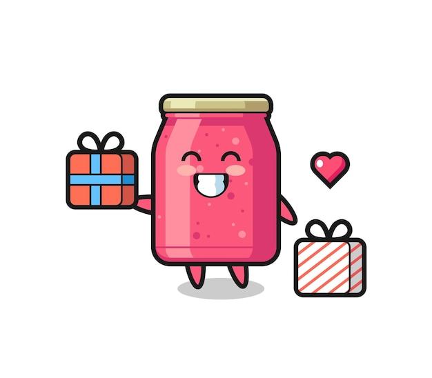 Erdbeermarmelade-maskottchen-karikatur, die das geschenk gibt, niedliches design