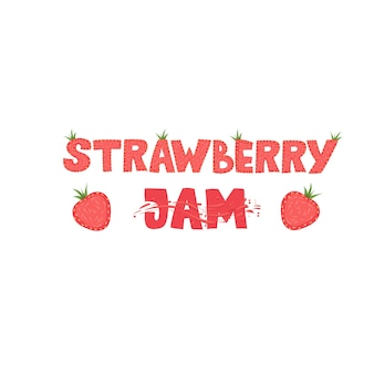 Erdbeermarmelade - schriftzug logo design. illustration.