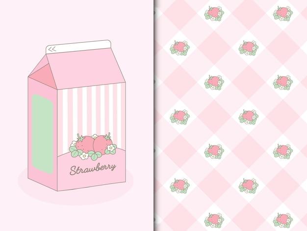 Erdbeermilchshake und erdbeeren nahtloses prasseln Premium Vektoren