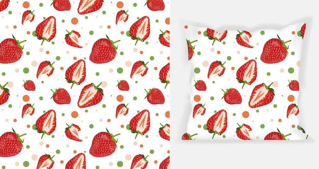 Erdbeermusterdesign mit quadratischem kissenmodell