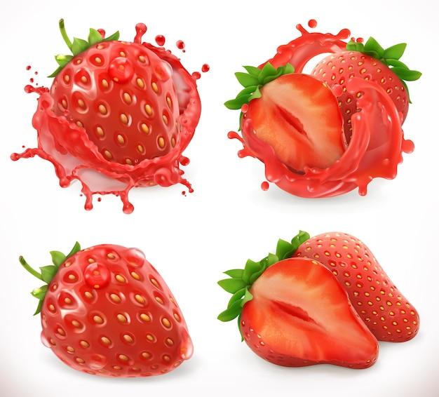 Erdbeersaft. frisches obst, realistisches 3d-vektorsymbol