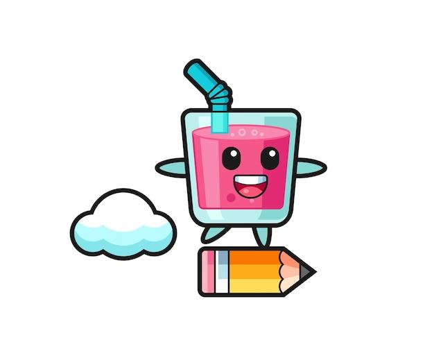 Erdbeersaft-maskottchen-illustration, die auf einem riesigen bleistift reitet, süßes stildesign für t-shirt, aufkleber, logo-element