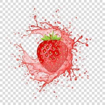 Erdbeersaftspritzer auf transparentem hintergrund
