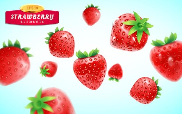 Erdbeerset detaillierte realistische reife frische erdbeeren mit grünen blättern mit wassertropfen