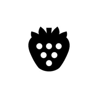 Erdbeersymbol in schwarz. erdbeersymbol. vektor auf weißem hintergrund isoliert. eps 10.