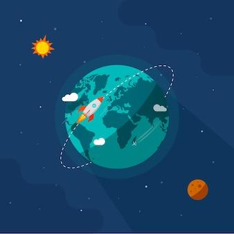Erde in der weltraumillustration, raketenraumschiff, das um planetenbahn auf sonnenuniversumuniversum fliegt