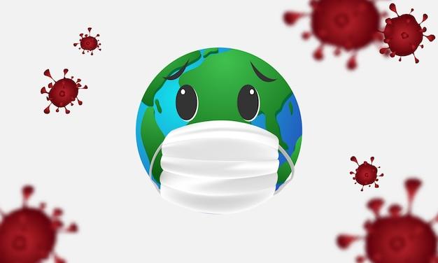 Erde in einer medizinischen maske, coronavirus oder corona-virus-konzept.