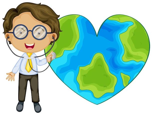 Erde in herzform mit einem arzt-cartoon-charakter