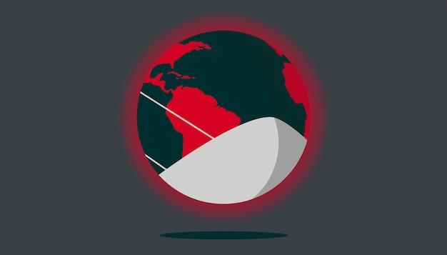 Erde mit gesichtsmaskenillustration