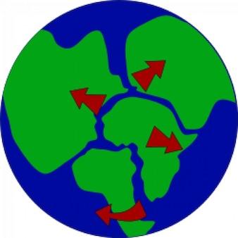Erde mit kontinenten aufbrechen