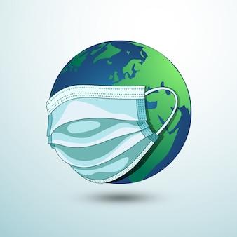 Erde mit medizinischer maske