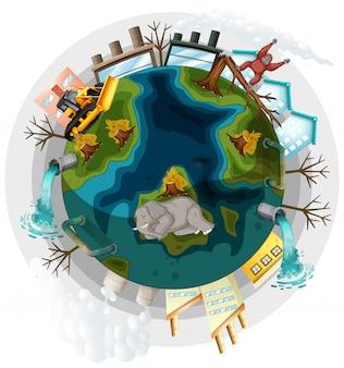 Erde mit problemen der abholzung und der globalen erwärmung