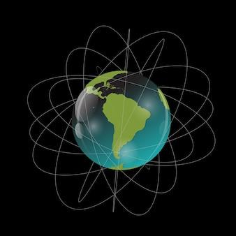 Erde mit satelliten. blick aus dem weltraum. vektorillustration
