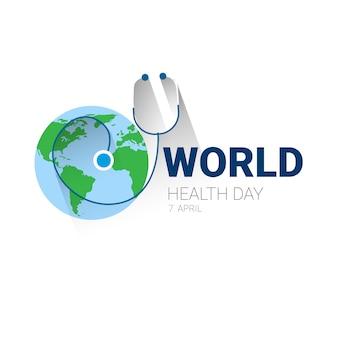 Erde-planeten-stethoskop-gesundheits-welttag-globale feiertags-fahne mit kopienraum
