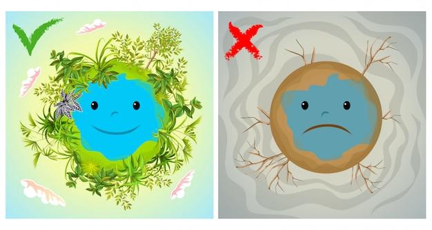 Erde sauber und schmutzig.