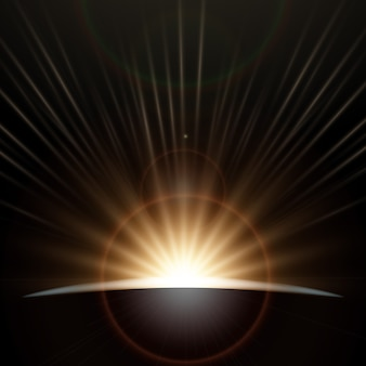 Erde sonnenaufgang lichteffekt