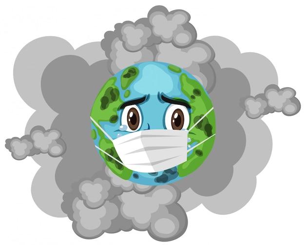 Erde trägt maske mit schmutzigem rauch