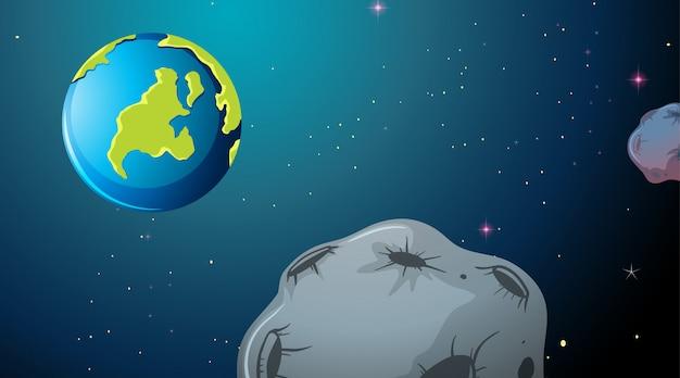 Erde und asteroidenraumszene