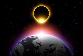 Erde und Sonnenfinsternis