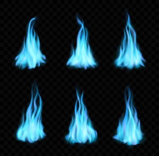 Erdgas brennende blaue flammen, lagerfeuer, realistisches feuer mit langen zungen. vector blaze 3d-effekt, leuchtende, leuchtende flare-designelemente, magisches inferno-zündungsset isoliert auf schwarzem hintergrund
