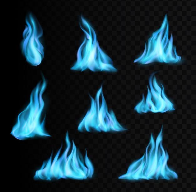 Erdgas brennende blaue flammen und realistische feuerlicht- oder energieflammen-vektorsymbole. blaue gas- oder brennerofen-feuerflammen mit glow-effekt, natürlich brennende fackeln oder blaue feuerbälle