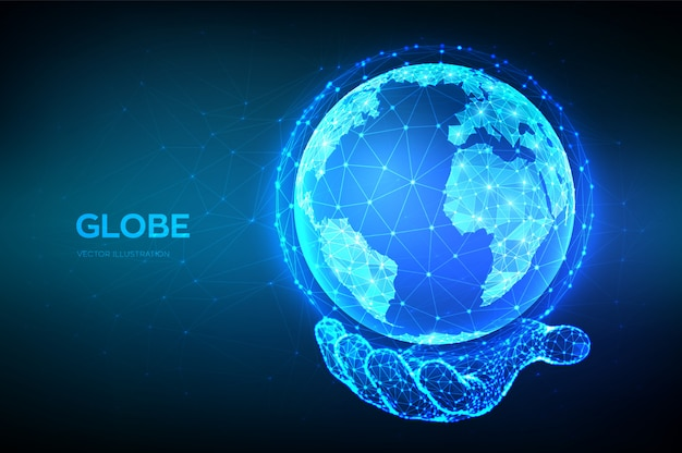 Erdkugel abbildung. abstrakter niedriger polygonaler planet in der hand. globale netzwerkverbindung.