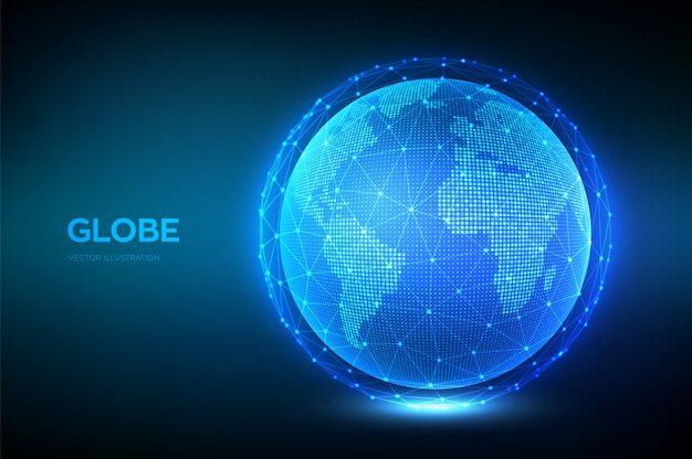 Erdkugel illustration. weltkartepunkt und linie zusammensetzungskonzept der globalen netzwerkverbindung.
