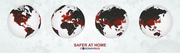 Erdkugel mit coronavirus-fällen