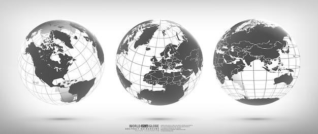 Erdkugel mit kontinenten festgelegt