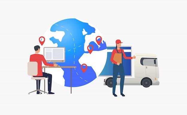Erdkugel mit zeigern, lkw und logistikexperte