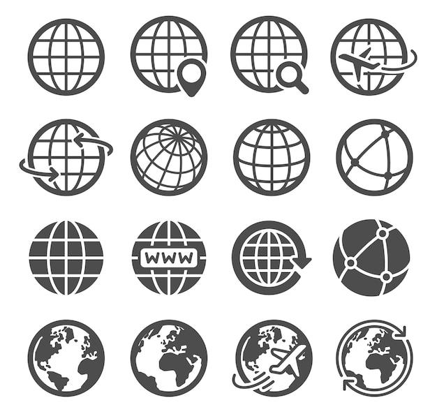 Erdkugel-symbole. weltweiter kugelförmiger planet, geographiekontinentkontur, globale kommunikationstourismuslogovektorsymbole der weltumlaufbahn internetsuche, piktogramme von fliegenden flugzeugen