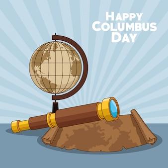 Erdkugel und glückliches columbus-tagesdesign