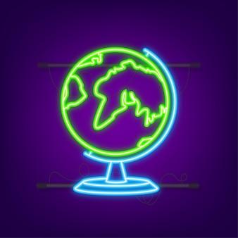 Erdkugeln. flache planet erde neon-symbol. vektorgrafik auf lager.