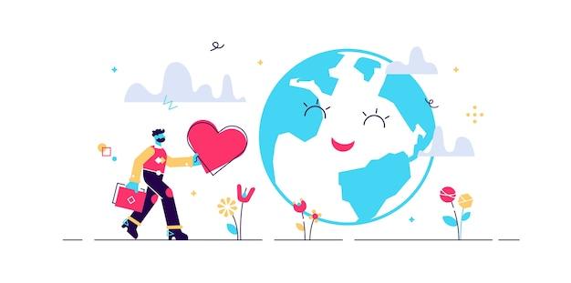Erdliebende illustration. klimaschutz und planet unterstützen winzige menschen. naturgruß mit symbolischem herzen. sauberes, erneuerbares und nachhaltiges leben zur rettung des ökosystems.