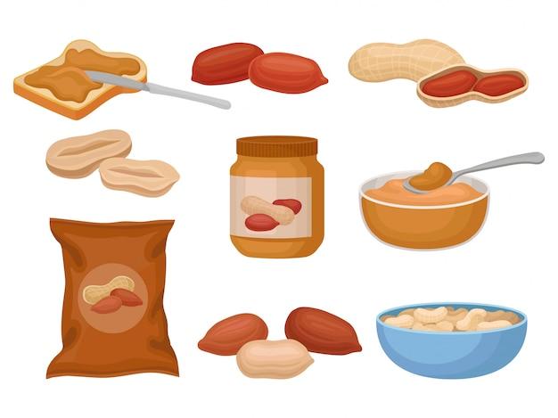 Erdnüsse und erdnussbuttersatz, nahrhafte erdnussprodukte illustration auf einem weißen hintergrund