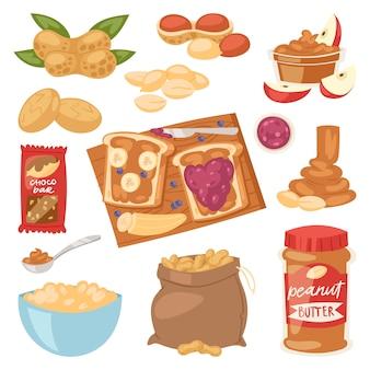 Erdnuss-erdnussbutter oder erdnusspaste auf toastbrot-illustrationssatz von nahrhafter nusscreme oder -schale lokalisiert auf weißem hintergrund