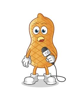 Erdnuss-fernsehreporter-karikatur lokalisiert auf weiß