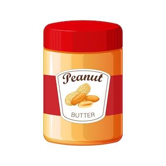 Erdnussbutter. detaillierte ikone. essen zum kochen des frühstücks. glas erdnussbutter lokalisiert auf weiß
