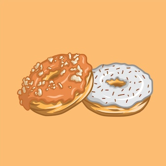 Erdnussbutter-donuts und spinkles-schoko-donuts