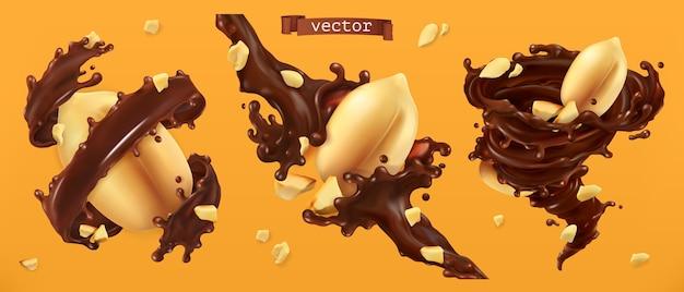 Erdnussnüsse und schokoladenspritzer. 3d realistischer vektor
