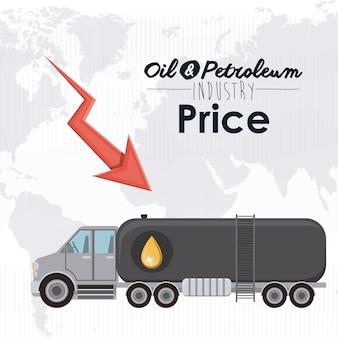 Erdöl-preiskonzept mit wirtschaftsikonen