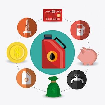 Erdöl- und erdölindustrie infografik