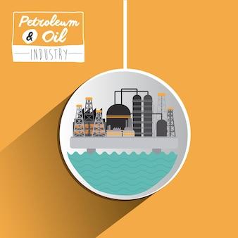 Erdöl- und ölkonzept mit industrieikonen