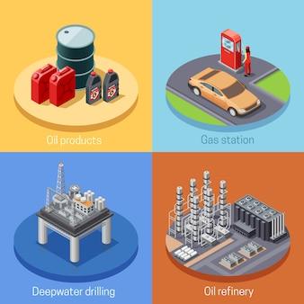 Erdölindustrie-isometrisches ikonen-quadrat
