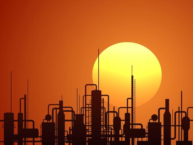 Erdölraffineriebau ector hintergrund