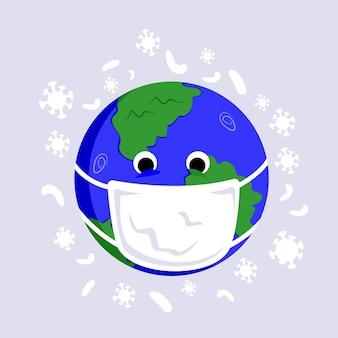 Erdplanet in gesichtsmaske mit zeichen coronavirus für web- und poster-coronavirus-epidemie