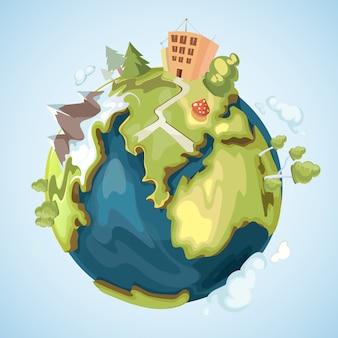 Erdplanet mit gebäuden, bäumen, bergen und naturelementen