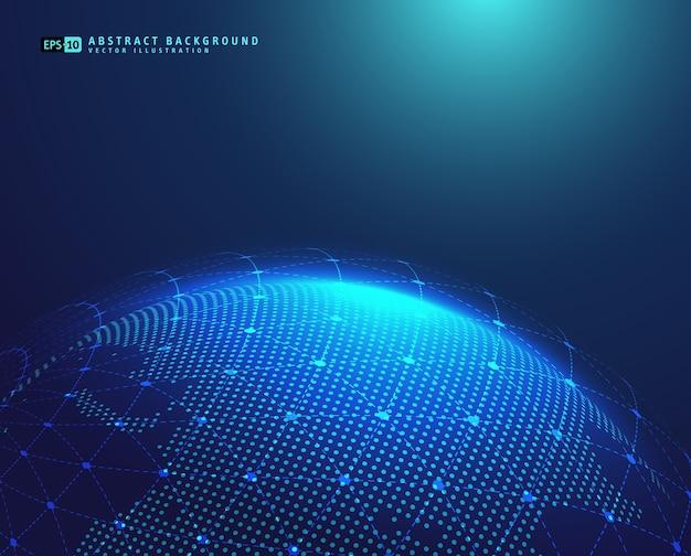 Erdraum-kugelplanet mit blauen strahlen