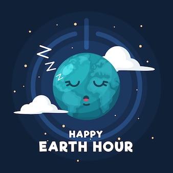 Erdstundenillustration mit dem schlafenden planeten